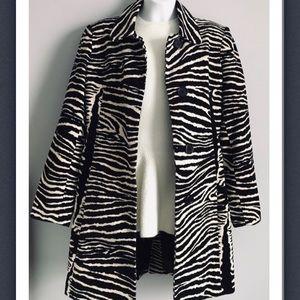 Corduroy zebra print coat black &cream